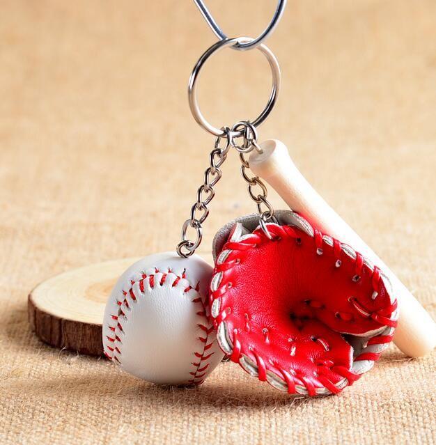 볼 열쇠 고리 야구 장갑 나무 배트 가방 열쇠 고리 키 체인 링 만화 펜던트 키 체인 최고의 크리스마스 선물 DHL 크리스마스 선물