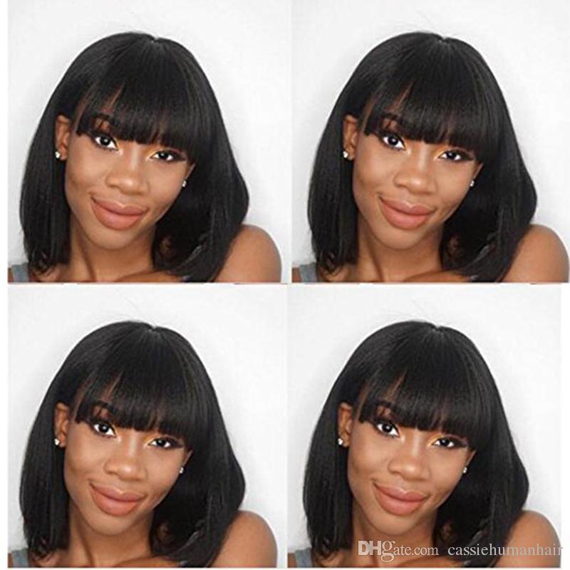 Intalian Yaki Short Bob Human Hair Wig For Afro American Woman Gluless Full Lace Human Hair Short Straight Wig with Full Bangs Peruvian Hair