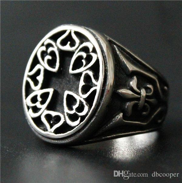 Stainless Steel 2 Color Fleur De Lis Flower Biker Ring