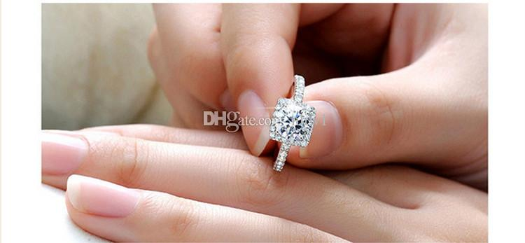 Silver Plated Wedding Rings For Women Square Simulated Diamond Jewelry Bague Fashion Femme Engagement Ring Accessories