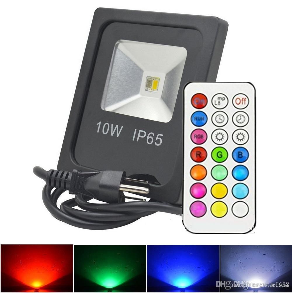 Rgbw led floodlights strobe stage lights waterproof 10w led flood lights outdoor lighting remote control us uk au eu plug marine led flood lights