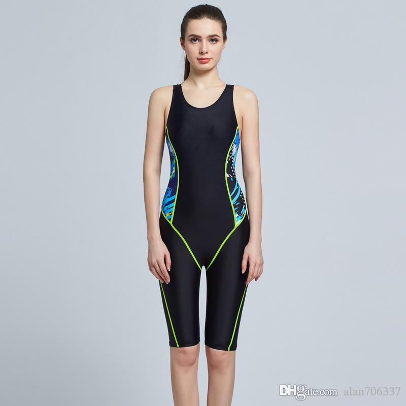 7b7ecb2553d 2019 Women Sport Swimsuits Competitive Swimming Suits Girls Racing Swimwear  One Piece Swim Suit Competition Swimsuit Knee Length 6002 From Alan706337