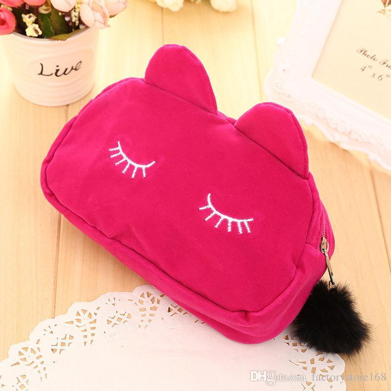 Sleepy Kitty Cat Cosmetic Bag Pencil Pouch Makeup Brush Case Travel Clutch Handbag Purse Cute Kawaii Fashion