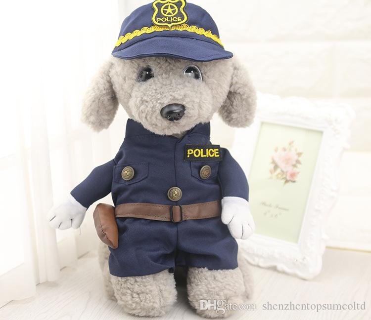 Whimsy Funny Pet Cat Dog Dress Uniform Suit Clothes + Hat The Police Cloth Set For Dog Cat