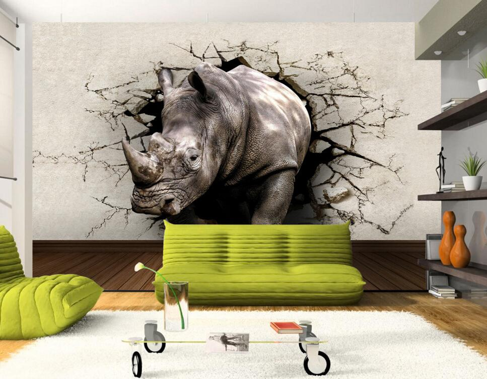 Wholesale custom 3d stereoscopic wallpaper rhino hole in for 3d wallpaper waterproof