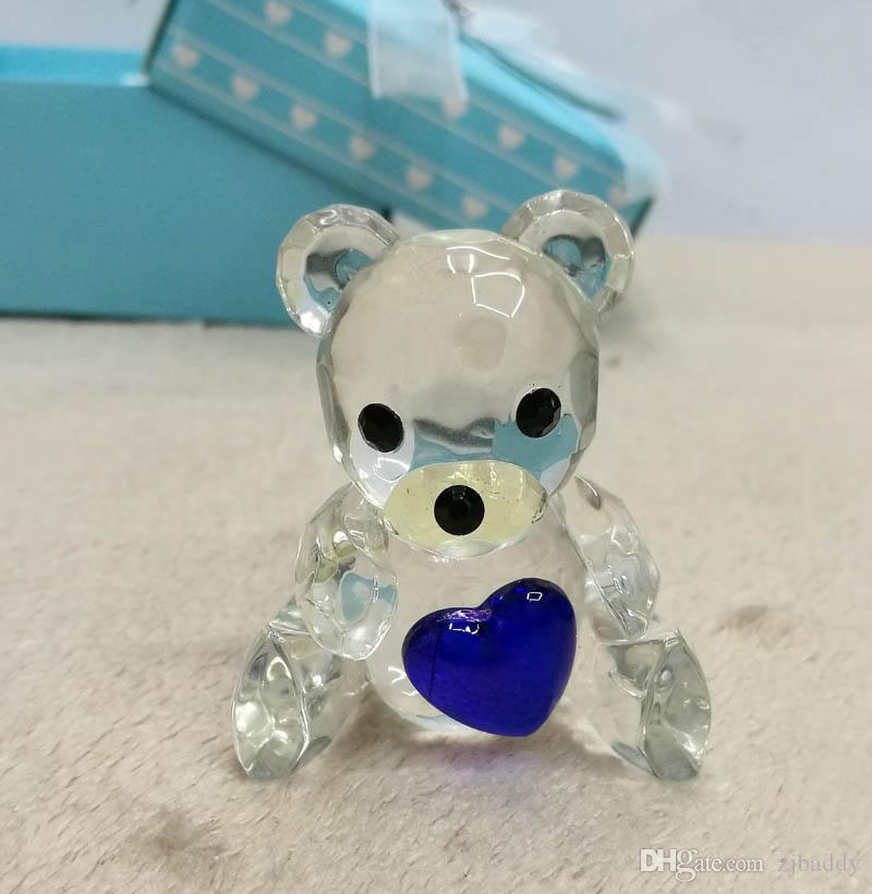 Cystal Baby shower favors for boys Crystal Teddy Bear Figurines Crafts Favors with blue Newborn Baby Gift Set wholesale