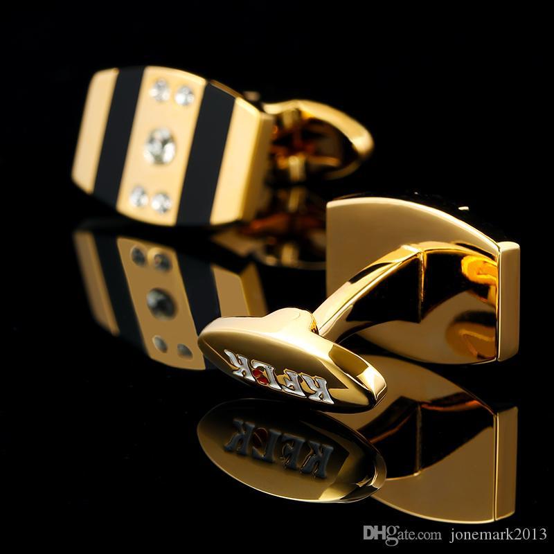 2016 French shirts Boutons de manchette de mode pour hommes Brand Gold Cuff liens Luxe Weddin boutons haute qualité cristal cadeau