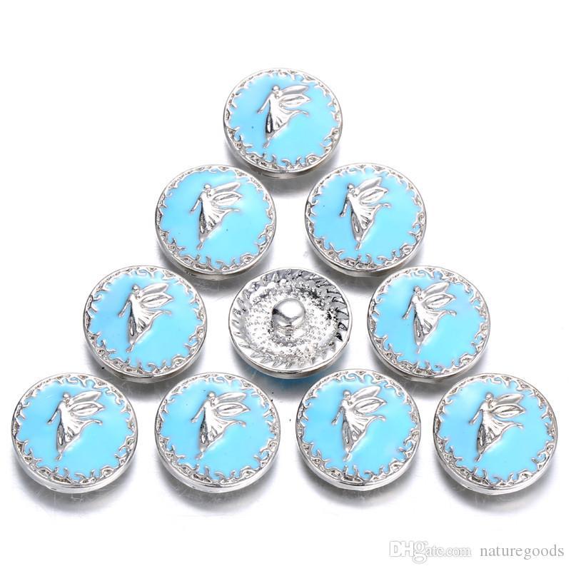 12 pçs / lote novo anjo snap jóias esmalte azul 18mm snap botões achados feminino meninas diy acessórios para pulseira de pressão