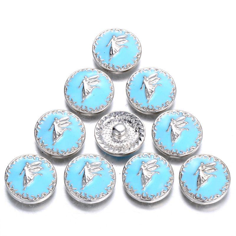 12 unids / lote Nuevo Angel Snap Jewelry Esmalte Azul 18 MM Botones A Presión Hallazgos Femeninos Niñas Accesorios de BRICOLAJE para snap pulsera