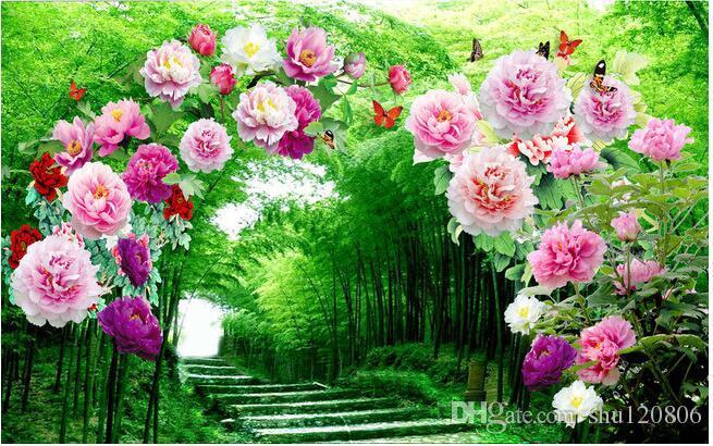 3d غرفة خلفية صورة جدارية مخصصة زهرة حديقة غرفة الممر الديكور اللوحة صورة 3d الجداريات ورق الجدران 3 د
