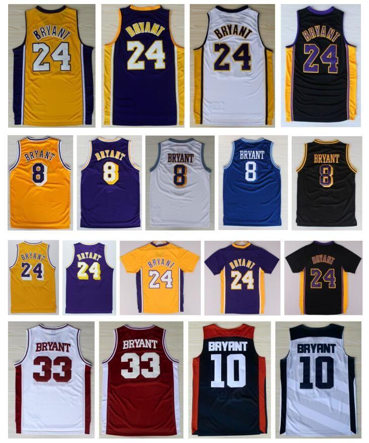fe6758606 ... 2017 Throwback Mens Basketball 8 Kobe Bryant Jerseys Yellow White  Purple Black 10 All Stitched 24 ...