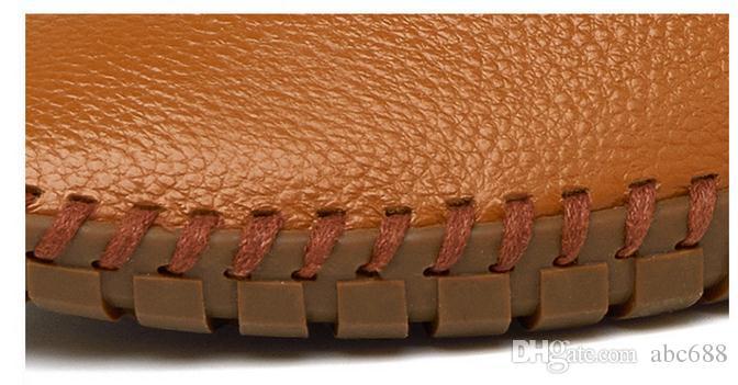 Yeni Hakiki Inek deri Erkek Loafer'lar Moda El Yapımı Moccasins Deri Erkekler Flats Mavi Erkekler Tekne Ayakkabı Üzerinde Kayma