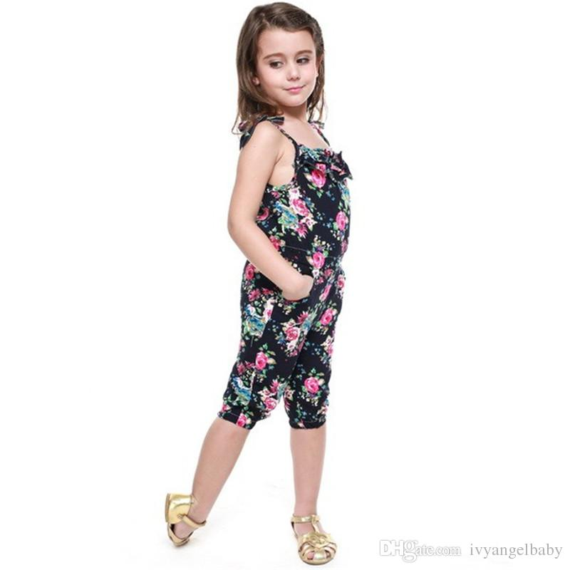 Baby Toddler Girls Kids Summer Sleeveless Floral Jumpsuit Suspender Trousers Pant Playsuit Romper Jumpsuit Top Floral Print for 2-10Y