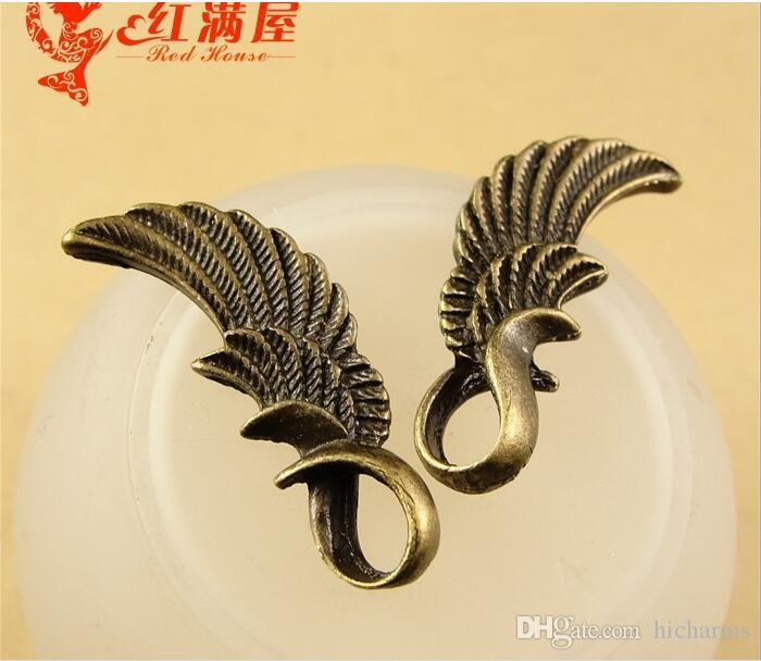 Wholesale Antique Bronze angel wing charms for bracelet, metal dangle vintage feather pendants for necklace, fashion tibetan jewelry making