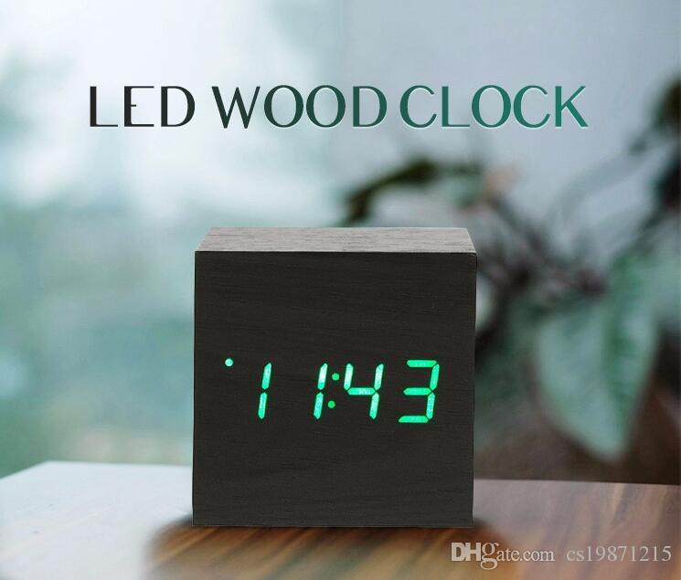 2018 mini cube led digital alarm clock square wooden. Black Bedroom Furniture Sets. Home Design Ideas