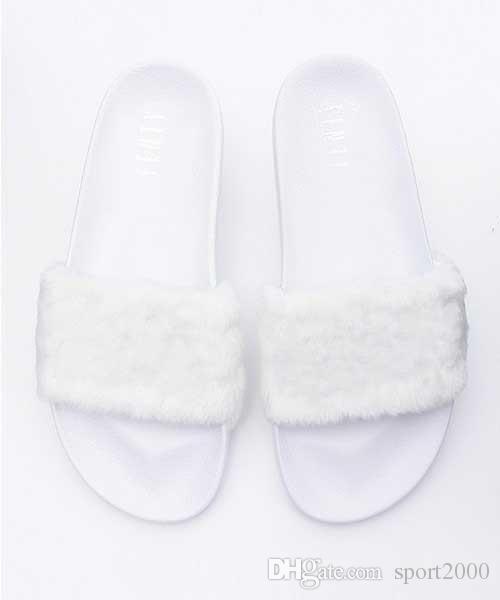 puma flip flo pLeadcat Fenty Rihanna Schuhe für Frauen Hausschuhe Indoor Sandalen Mädchen Mode Scuffs Rosa Schwarz Grau Pelz Rutschen Star SWith frauen Schuhe