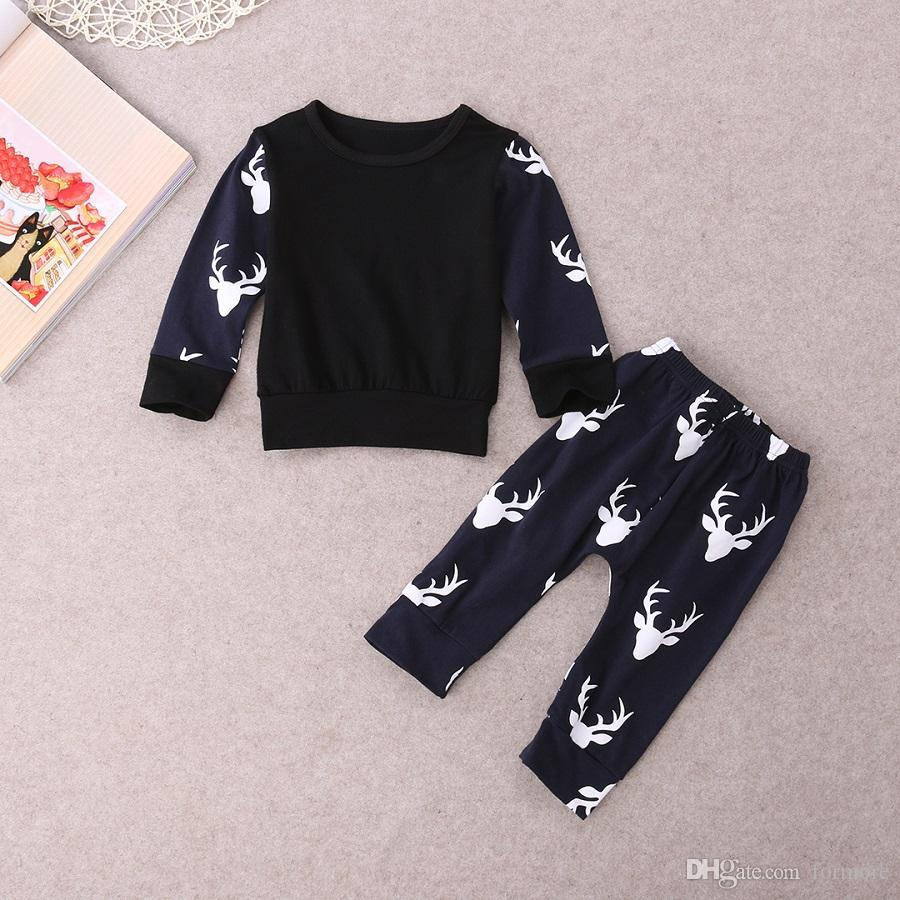 Newborn Baby Clothes Suit Toddlers Boy Clothing Set Infant Boys Tracksuit Deer Printed Long Seeve T-shirt Legging Warmer Pants Outfit