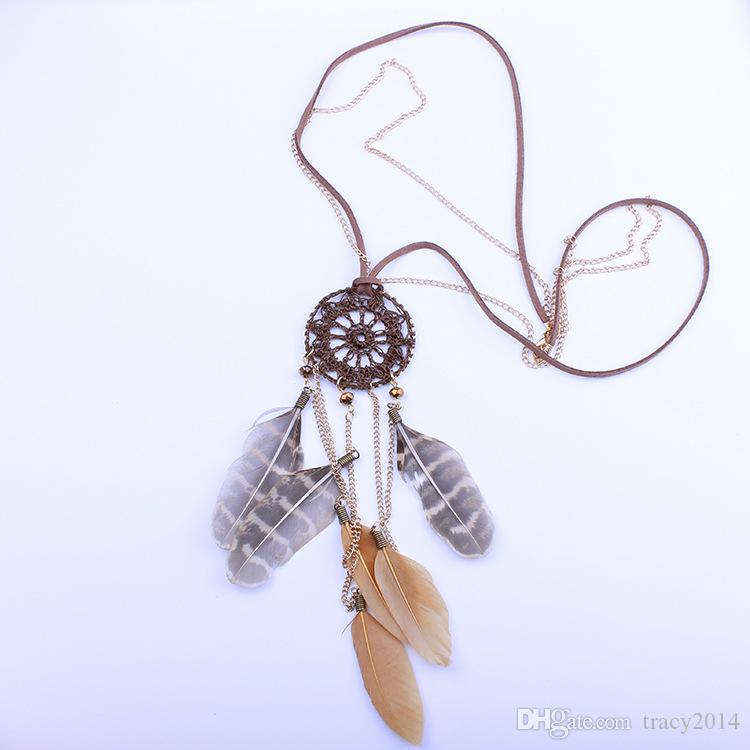 Dreamcatcher Necklaces Feather Handmade Woven Necklace Fashion Leopard Grain Feather Long Sweater Chain Dream Catcher Net Factory Sales