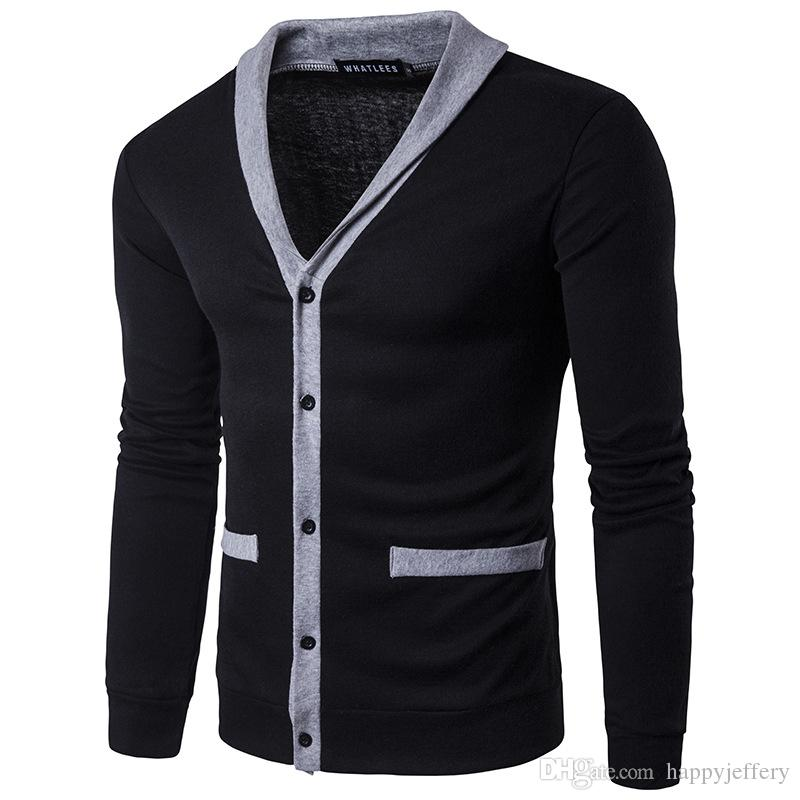 2017 Mens Cardigan Men Sweater Fashion Neck Combination Color Male ...