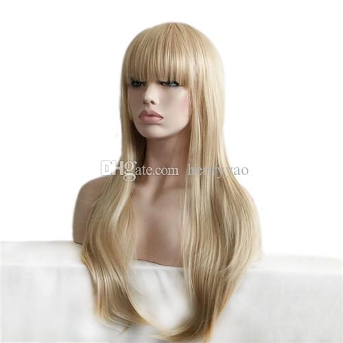 Cheap Long Straight Synthetic Hair Wigs Full Side Bang Wig for Women Heat Resistant Blonde Wig