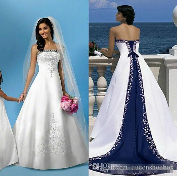 2019 caliente blanco y azul satinado vestidos de boda de playa bordado sin tirantes capilla tren corsé por encargo vestidos de boda nupciales para iglesia