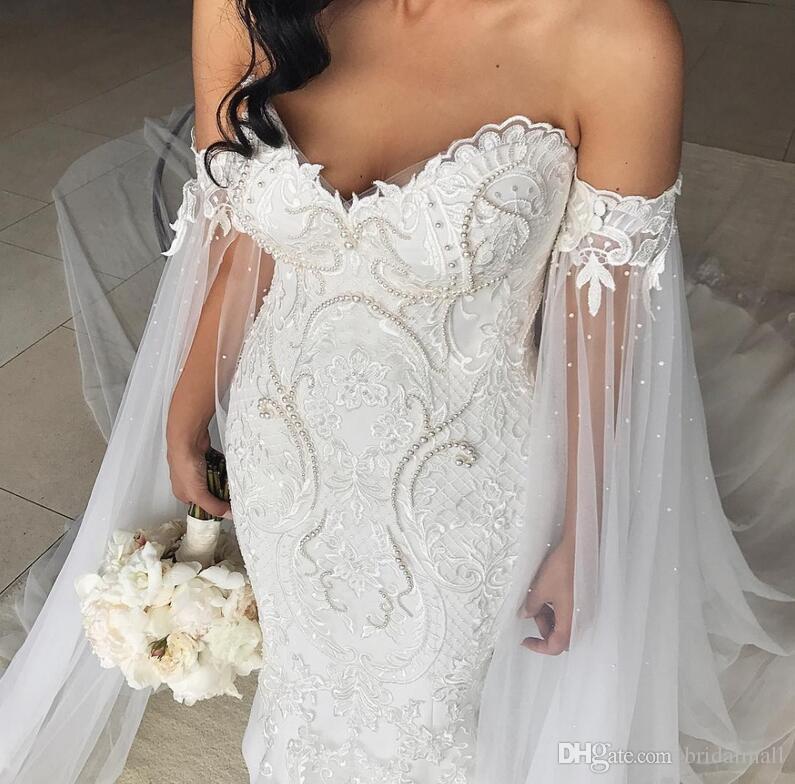 بالإضافة إلى حجم عام 2019 فساتين عروس البحر مع رداء شال دي ماري أبليك