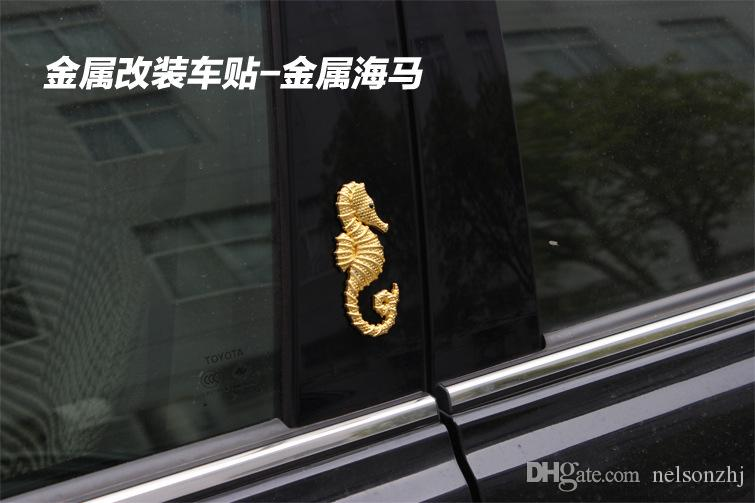 metal emblem badge hippocampus pattern Silver/gold colors for all car makers DIY Decoration