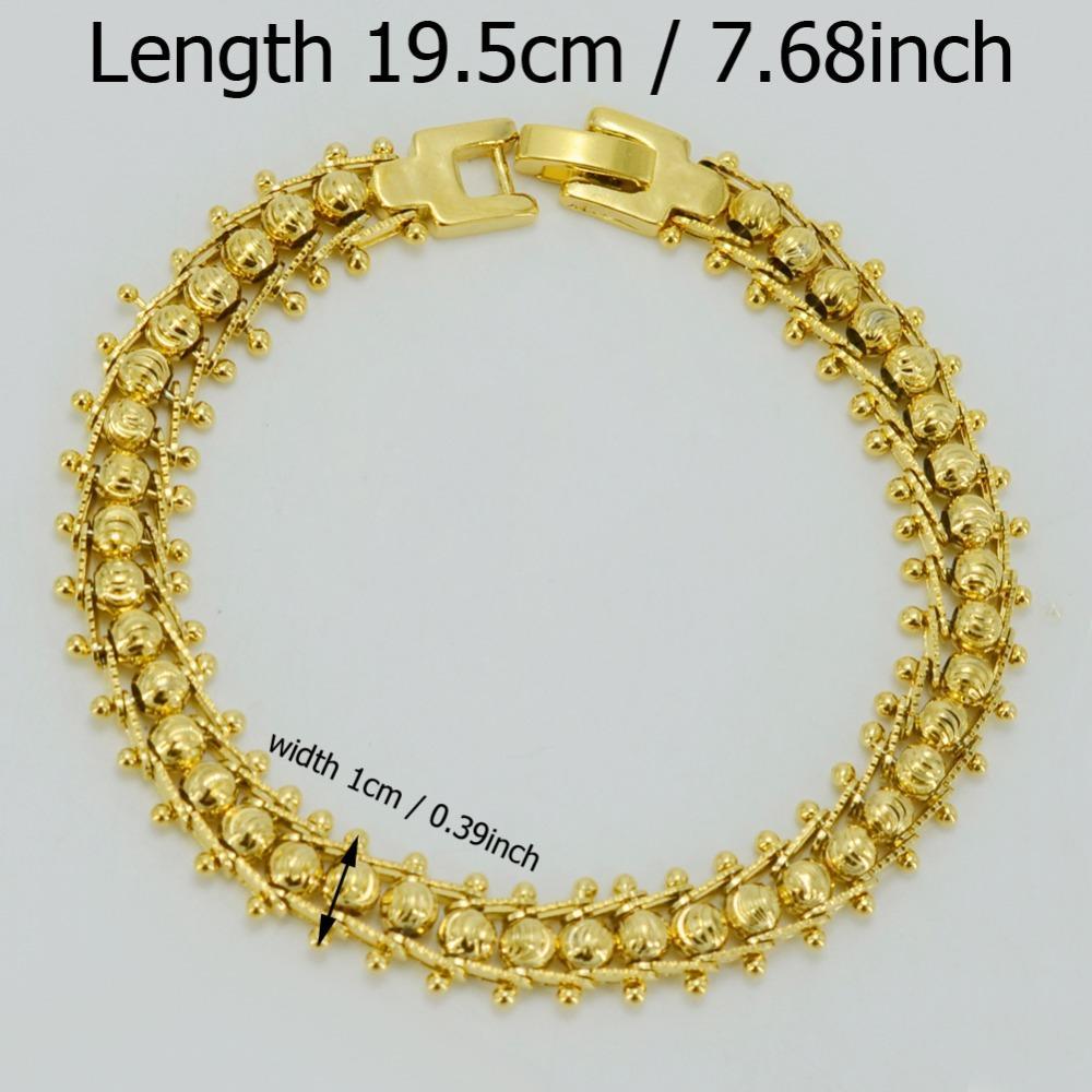 Anniyo Ethiopian Beads Bracelet for Women Gold Color Jewelry Men African Ball Bangle Dubai Wedding Ceremony Gifts #043402