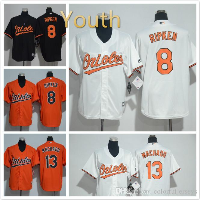 870153583 ... 2017 Youth Baltimore Orioles Jersey 8 Cal Ripken 13 Manny Machado Baseball  Jerseys Orange Black White ...