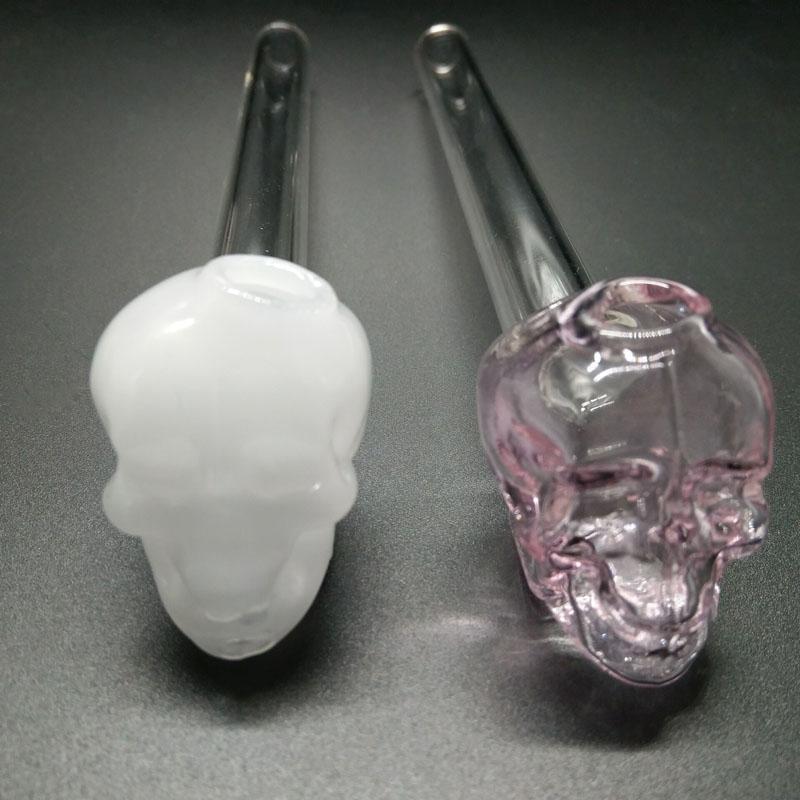 Precio de Fábrica Venta caliente Colorido Pyrex cráneo quemador de aceite de vidrio del tubo de aceite de uñas en stock envío gratis