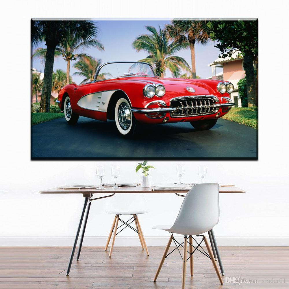 ZZ1307 modern decorative canvas art red sports car coconut tree landscape canvas pictures oil art painting for livingroom wall