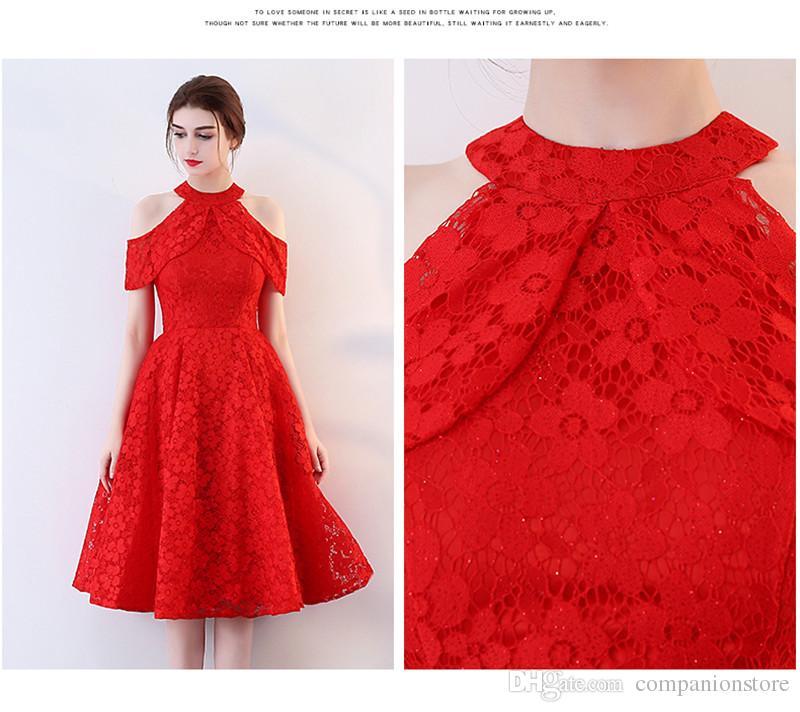 Vestidos de noche de una pieza de manga larga de una pieza de encaje de color rojo o-cuello Vestido de noche de una pieza de manga corta Vestido de noche de OnePiece
