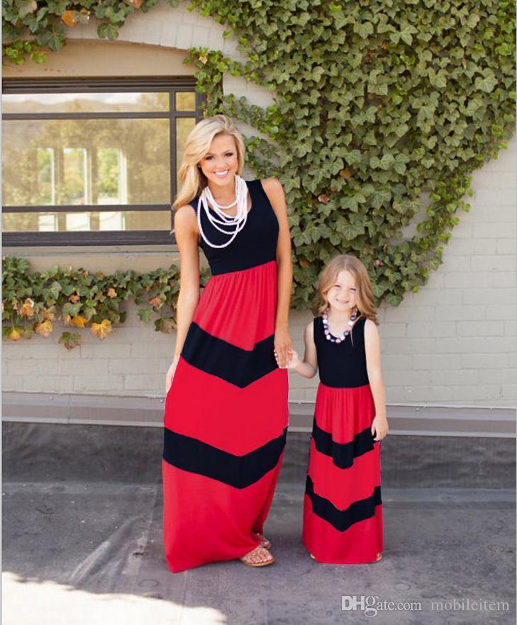 Aile Giyim Seti Anne Kızı Elbiseler Elbise Aile Giysileri Lüfftbalons Kıyafetler Çizgili Dikiş Kadın Elbise 428