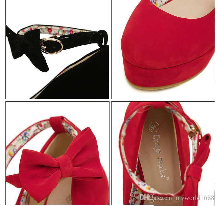 black bowtie plarform wedges womens red ankle strap high heel wedding shoes size 35 to 39