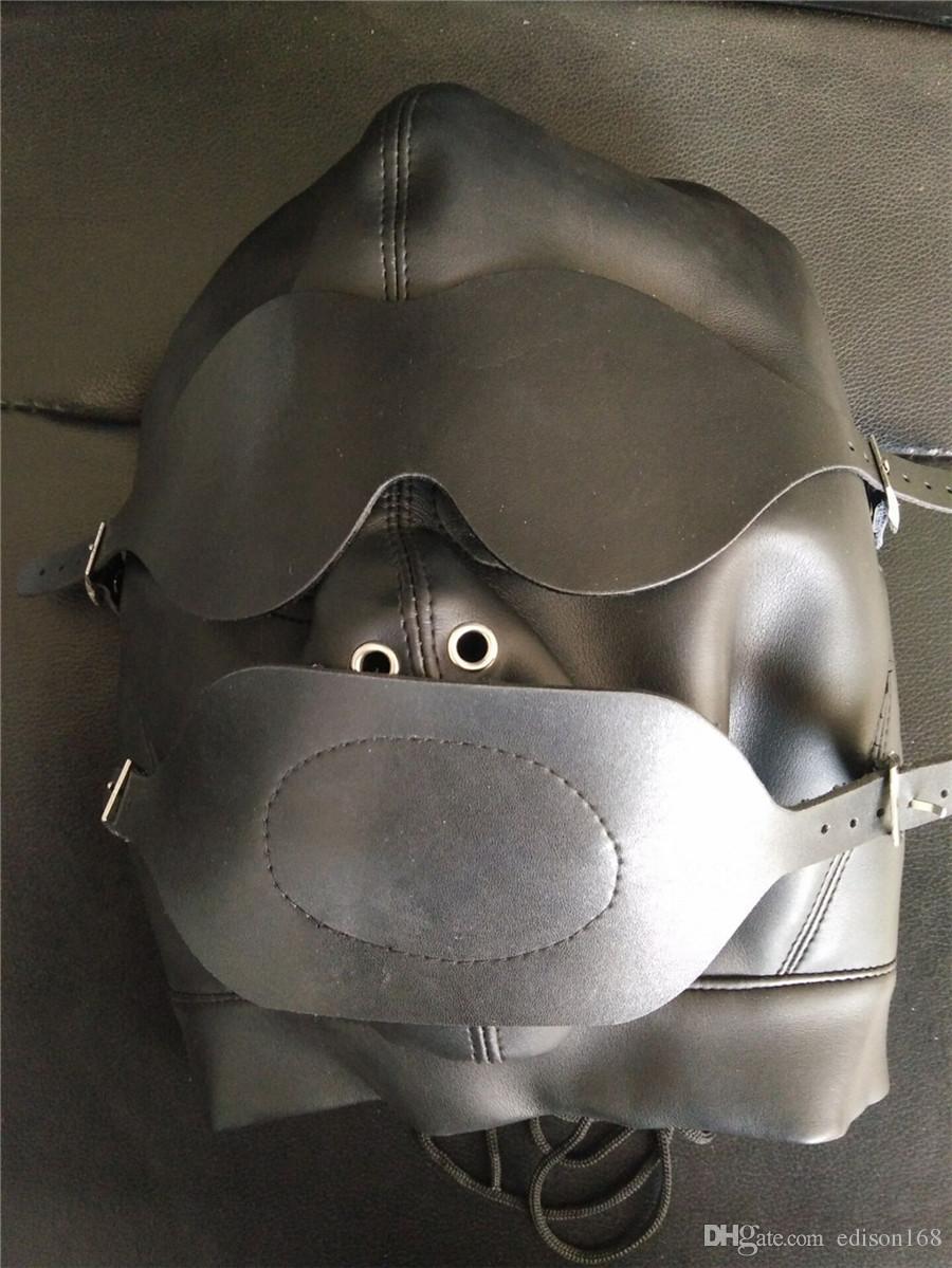 Hot Sex Product Novità Soft Leather Bondage Maschera Viso Imbavagliata Copricapo Adulto BDSM Sex Toy Bed Set da gioco
