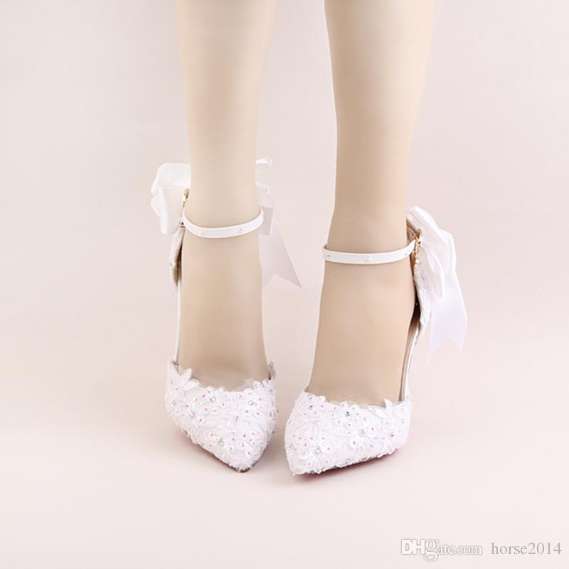 Newest Buckle Strap 9cm And 14cm Heels Bridal Wedding Shoes Lace Flower Rhinestone Party Prom Platform Banquet High-Heel