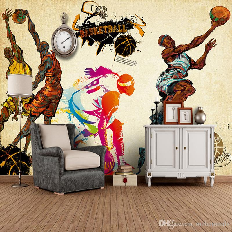Customized 3d stereo sports wallpaper gym yoga basketball for Basketball mural wallpaper