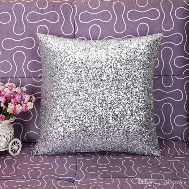 Sequin Pillow Case Sequin Pillowslip Pillow Mermaid Pillow Covers Case Reversible Cushion Cover Home Sofa Car Decor
