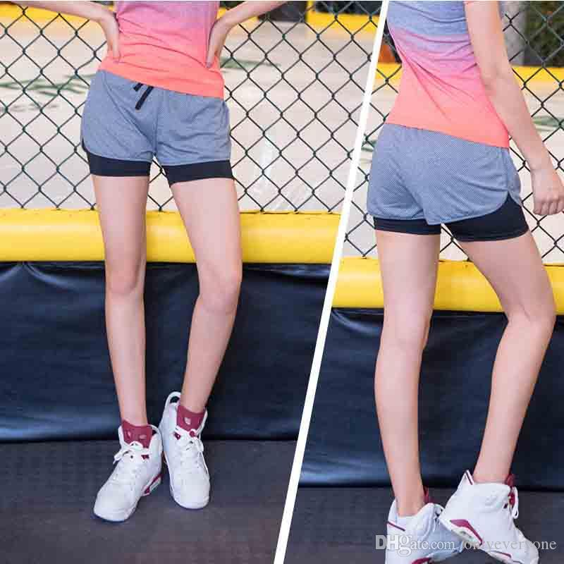 2017 nouveau short de yoga femme double couche anti-lumière séchage rapide faux yoga deux pièces fitness running shorts de sport