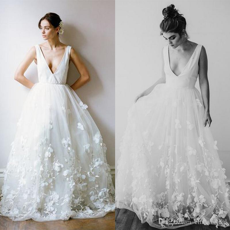 Discount Spring Summer Fashion Beach Wedding Dress With 3d Floral ...