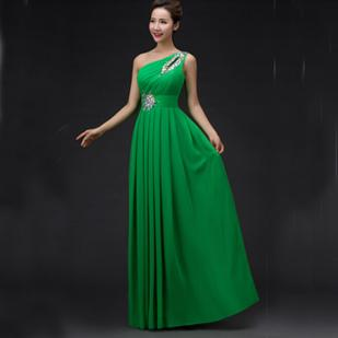 chiffon one shoulder prom dress