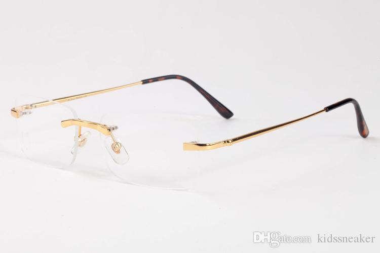 362cad25f3640d 2017 Fashion Vintage Rimless Rectangle Frame Gold Metal Eyewear ...