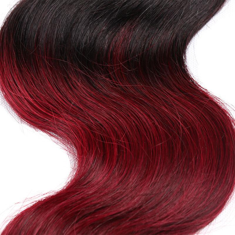T1b 99j Ombre Brazilian Human Hair Bundles Body Wave Weaves Two Tone Remy Virgin Hair Extensions Double Weft Weaving 8-28 inch