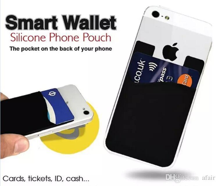 Colle 3M Universal Wallet silicone Carte de crédit de trésorerie de poche autocollant Porte-adhésif poche téléphone portable Gadget pour iPhone 11 Pro Max X XS XR 8