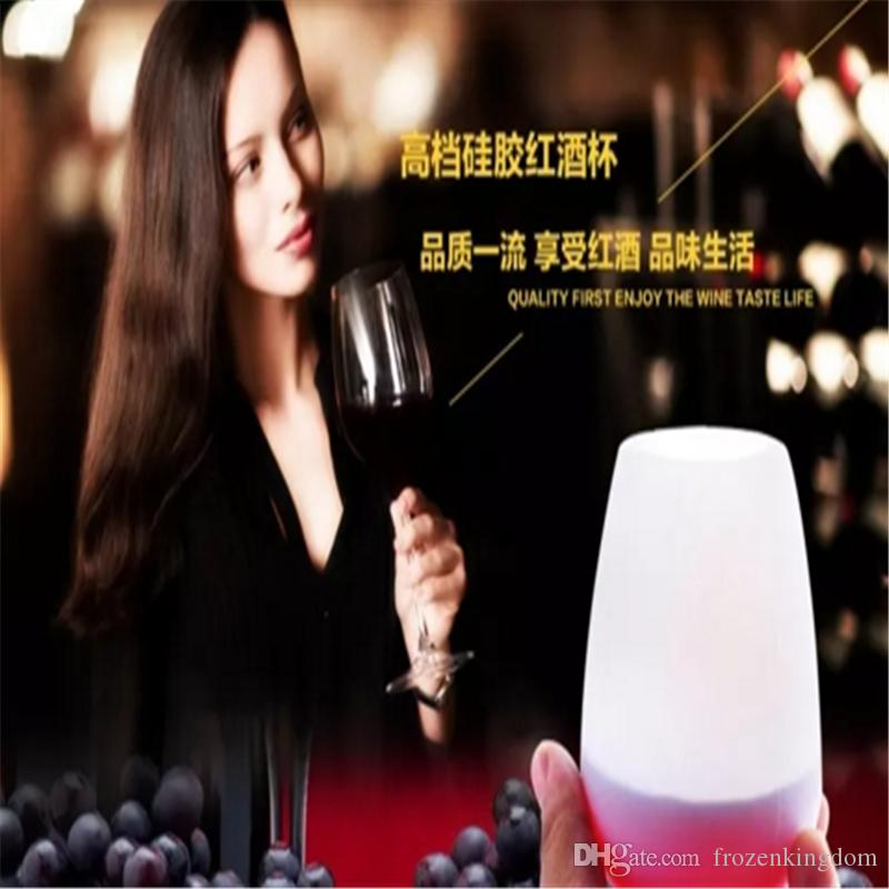 2017unbreakable stemless silicone wine cup food grade original portable wine cup silicone wine glass Party Decoration 2017091011