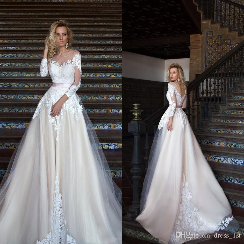 1e68b030928 Discount Modest 2017 Sheer Neckline Backless Wedding Dresses Cheap Illusion  3 4 Long Sleeve Applique With Sash Bridal Gowns Custom Made EN12262 Mermaid  ...