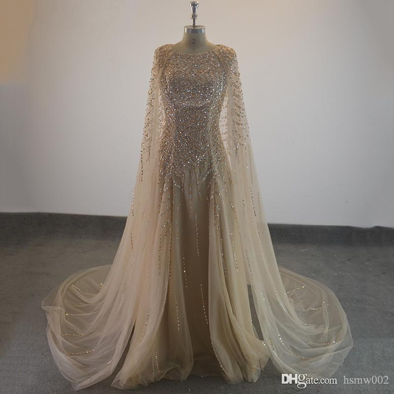 521309689dcbe Elegant Formal Evening Dresses 2017 Champagne Tulle Cape Ruffles Real Photo  Show Long Sheer Prom Party Gowns Evening Wear Dress