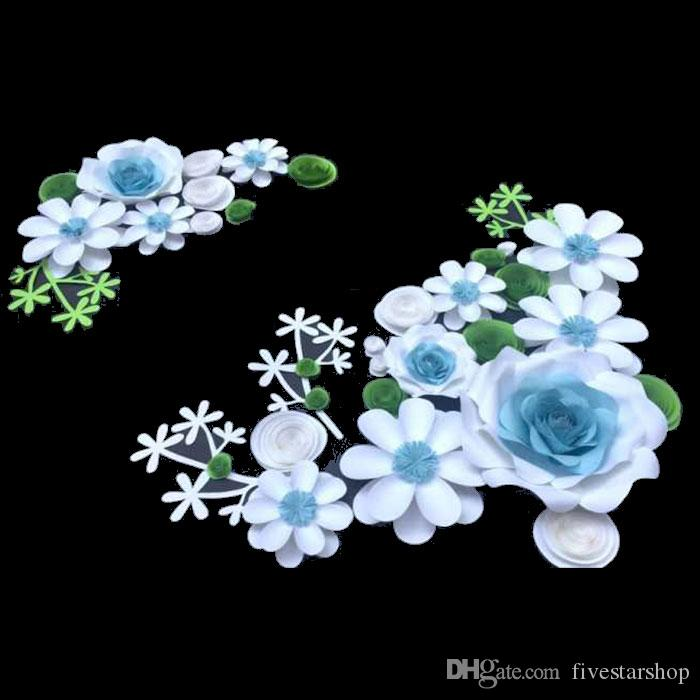 28pcs set Large Simulation Cardboard Paper Mix Styles & Colors Flowers Showcase Wedding Backdrop Background Decoration Stage Props Deco