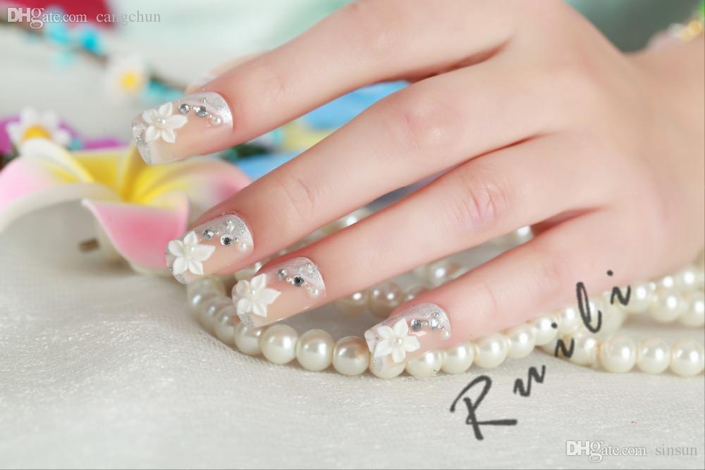 Wholesale-2015 New Arrival Diamond Fake Nails Full Acrylic Nail Tips ...