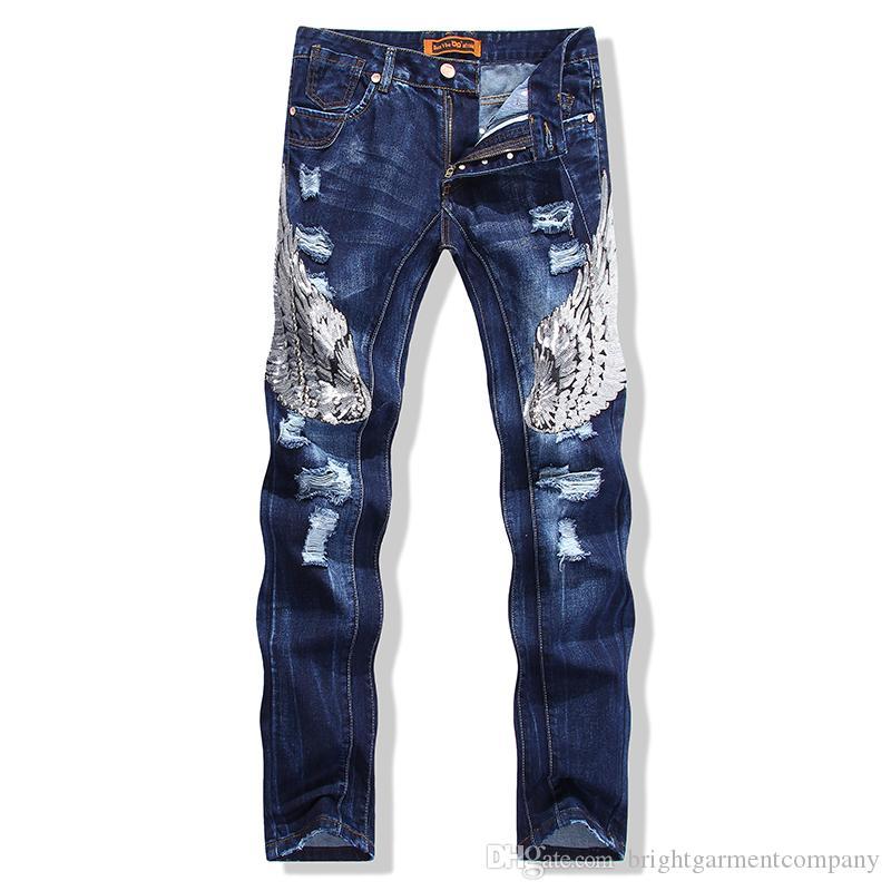 e1e4ac6f29 Compre Los Nuevos Hombres De La Moda De Diseño Plisado Biker Jeans  Ocasionales Delgados Bolsillos De Mezclilla Slim Straight Jeans Negros Para  Hombres A ...